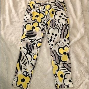 Land's End white with flowers pants NWOT Sz 2